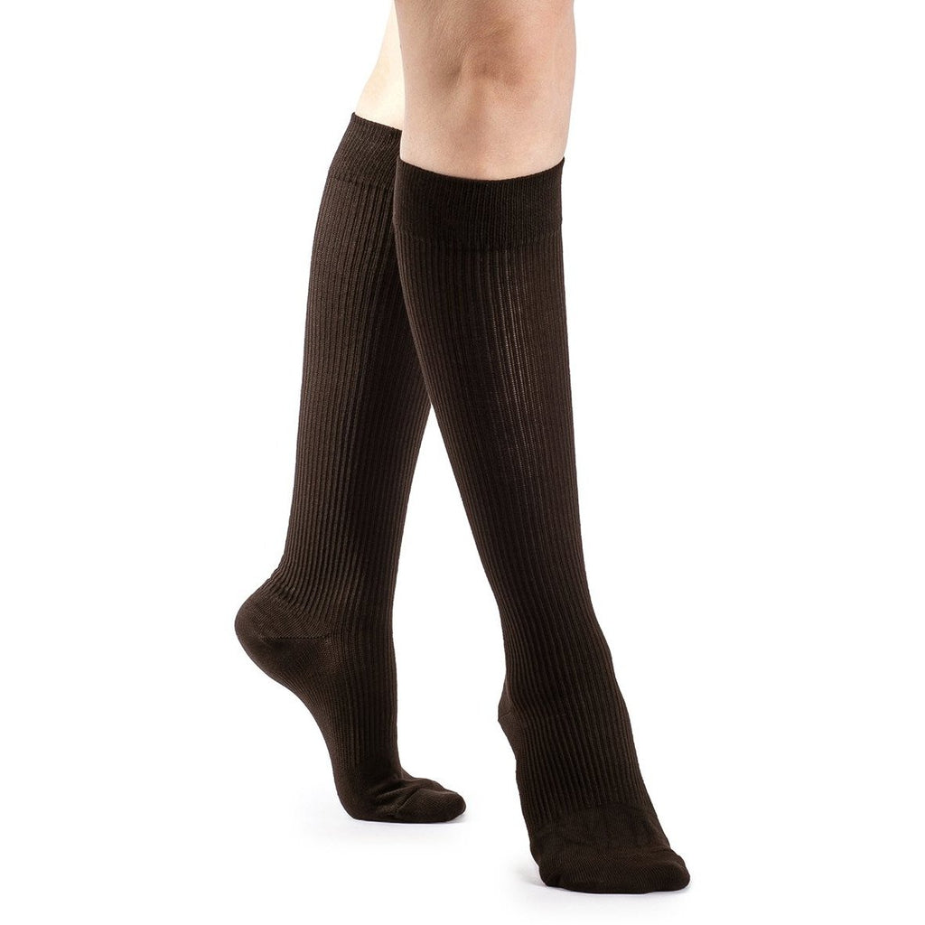 Sigvaris Women's Casual Cotton Knee High, Brown