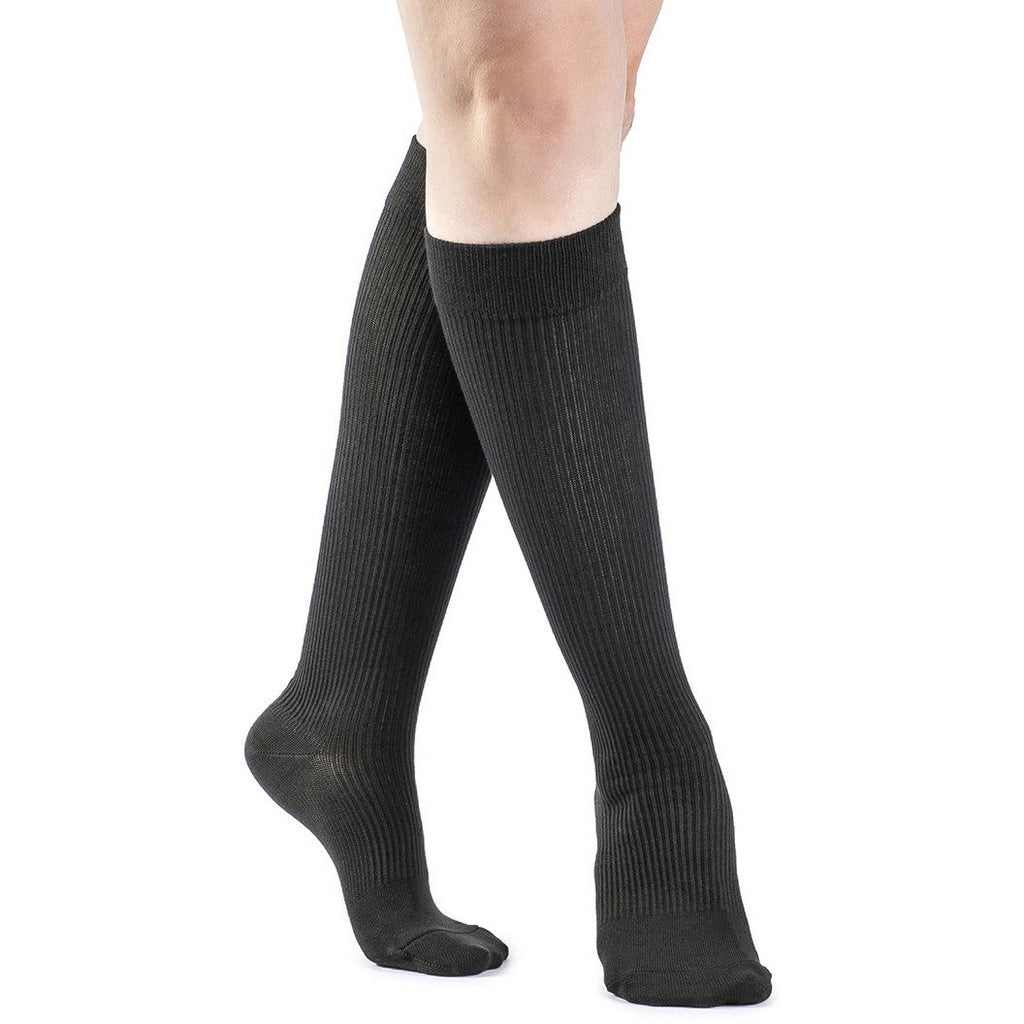 Sigvaris Women's Casual Cotton Knee High, Black