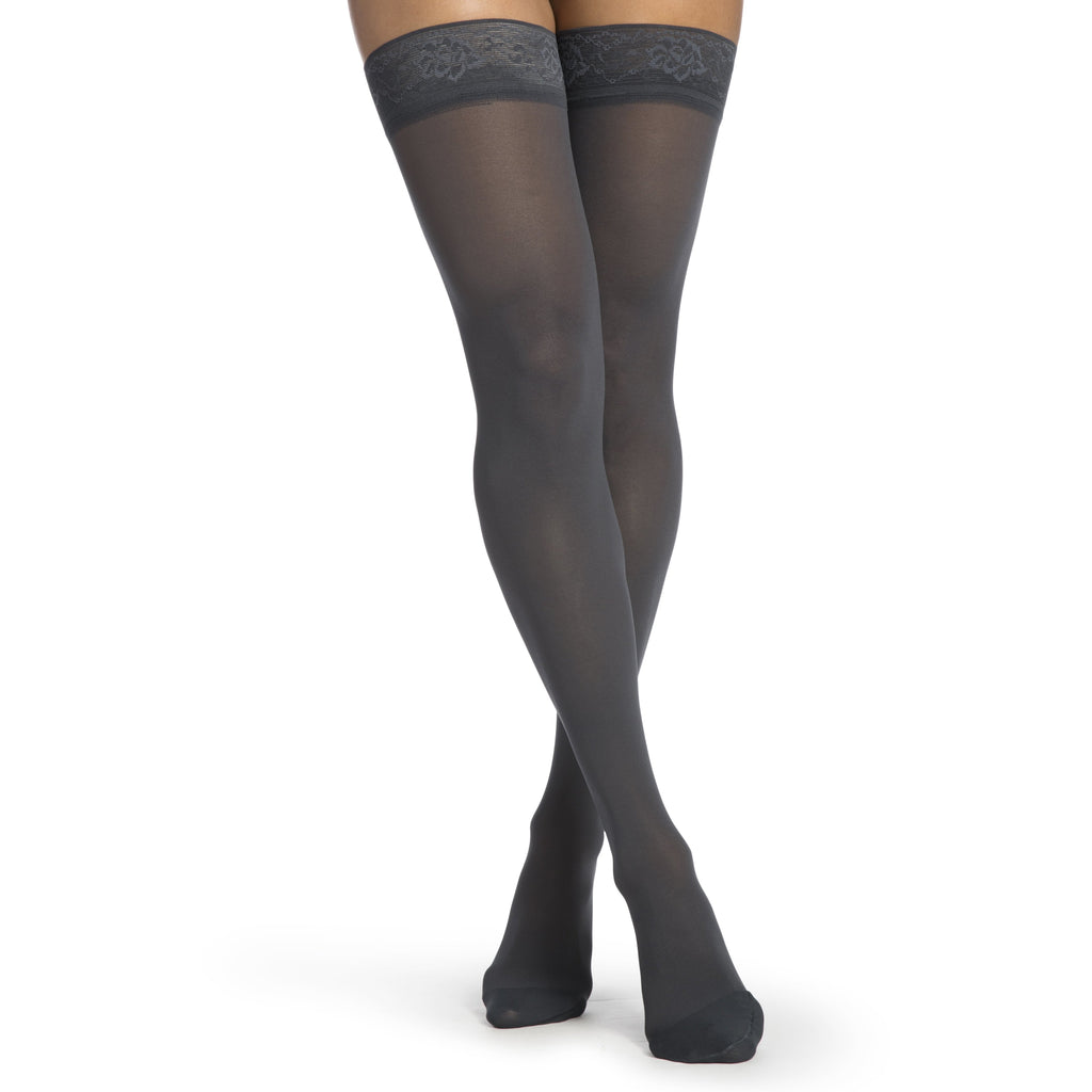 Sigvaris Women's Medium Sheer Thigh High, Nightshade