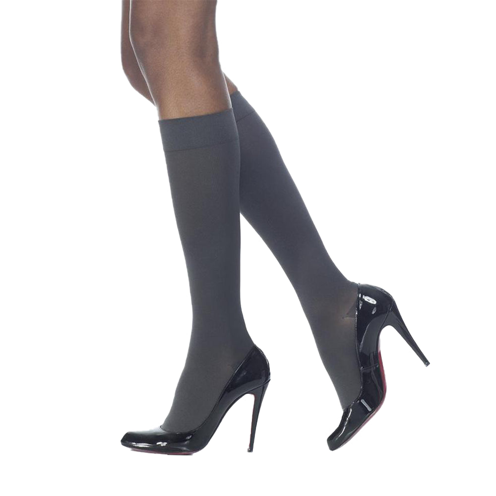 Sigvaris Soft Opaque Knee High, Open Toe, Black