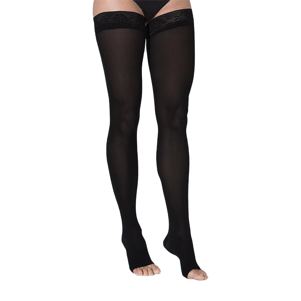 Sigvaris Soft Opaque Thigh High, Open Toe, Black