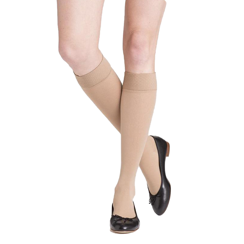 Sigvaris Soft Opaque Knee High, Open Toe, Nude in Shoes