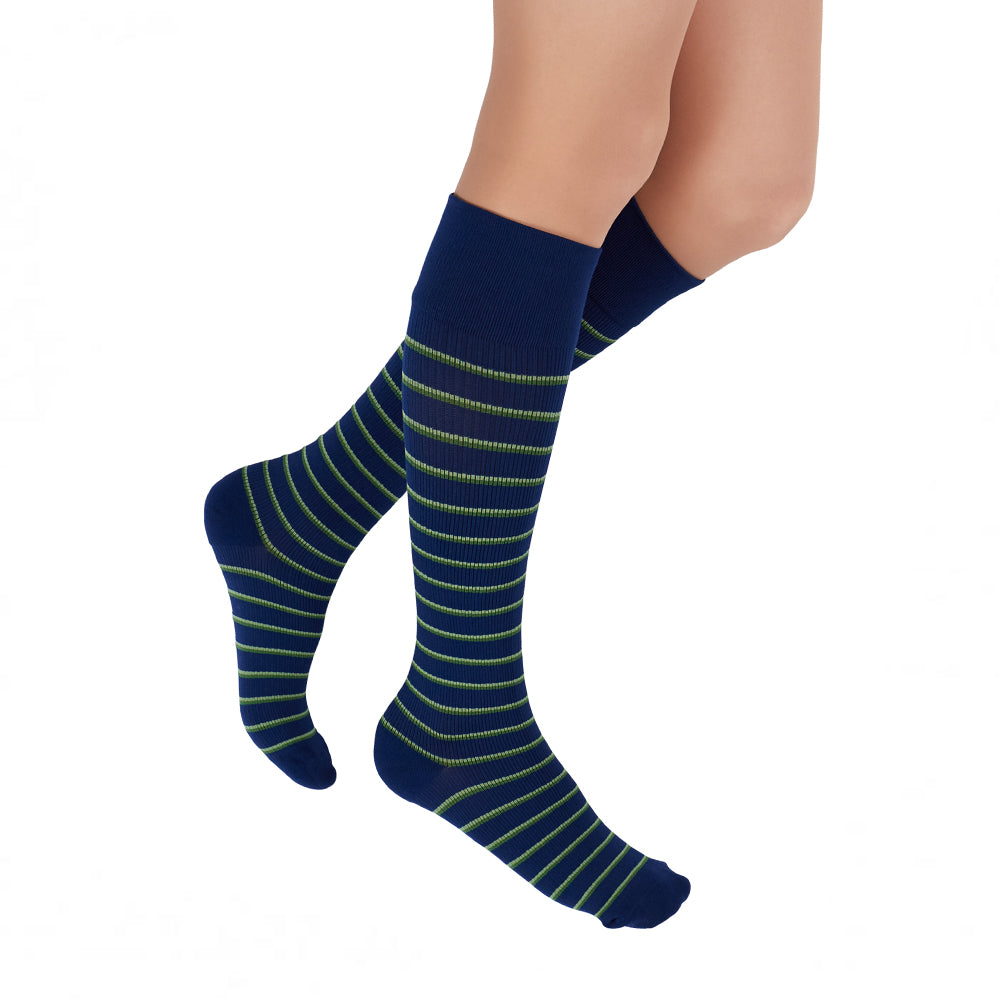 Stripe RejuvaSocks®, Navy/Green