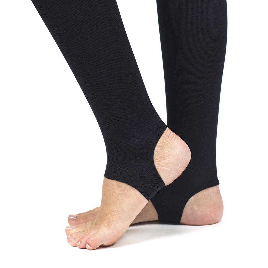 RejuvaWear® Black Stirrup Legging, Stirrup Close-Up