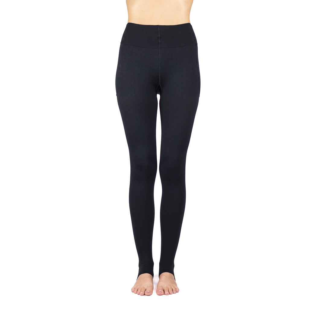 RejuvaWear® Black Stirrup Legging, Front View