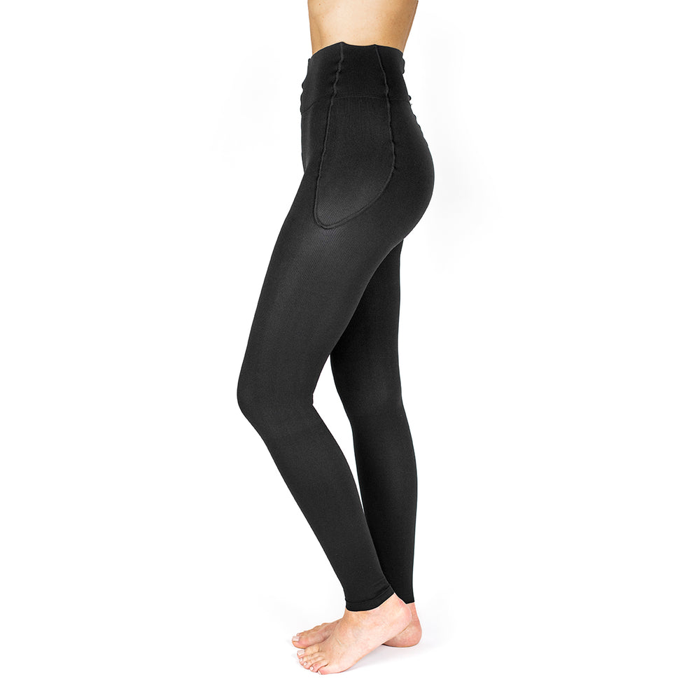 RejuvaWear® Black Footless Legging, Side View