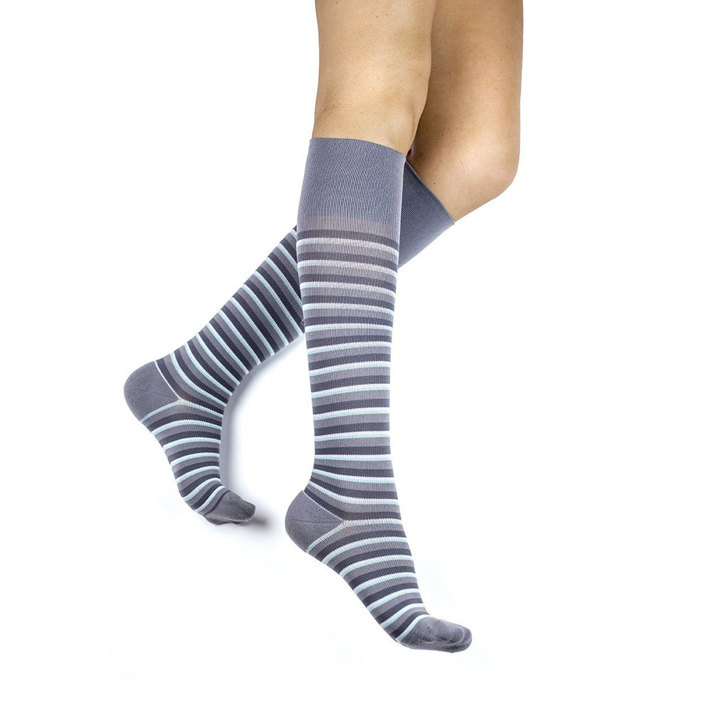 Stripe RejuvaSocks®, Grey/Teal