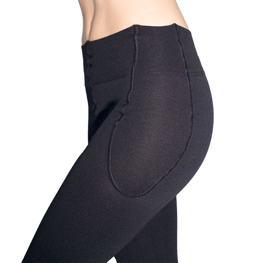 RejuvaWear® Black Footless Legging, Hip Close-Up