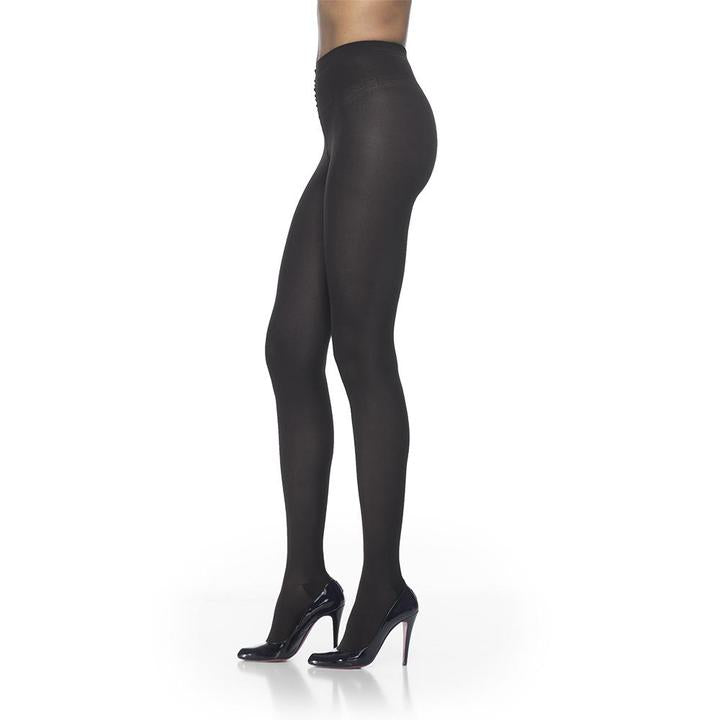 Sigvaris Soft Opaque Pantyhose, Open Toe, Black
