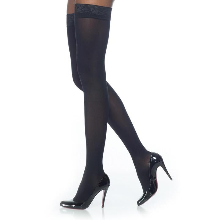 Sigvaris Soft Opaque Thigh High, Open Toe, Black, With Shoes