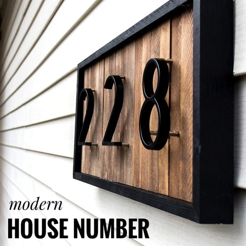 Modern Elevated-Mount House Number