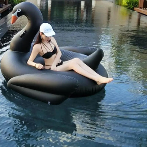 Image of Giant Inflatable Black Swan Pool Float
