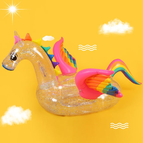 Holographic Inflatable Unicorn Pool Float