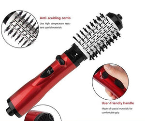 Rotating Curling Iron Brush - 2 In 1 Hair Straightener and Curling Brush