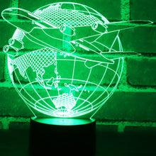 Load image into Gallery viewer, 3D Aircraft Earth Led Night Light