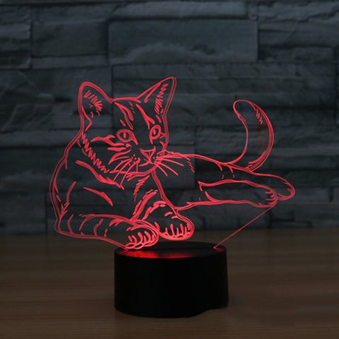 3D LED Light Illusion Cat
