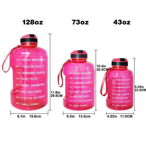 Image of Motivational Water Bottle with Time Marker & Straw