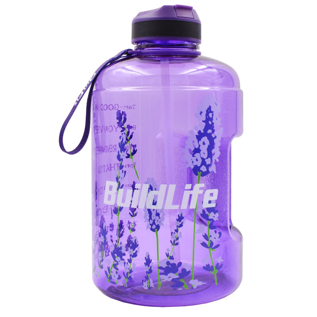 Motivational Water Bottle with Time Marker & Straw