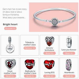 Sterling Silver Love MOM Forever Bangle