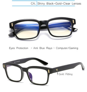 Clear Lens Glass Frame Anti Blue Ray Protection Unisex Solid Plastic Eye Wears