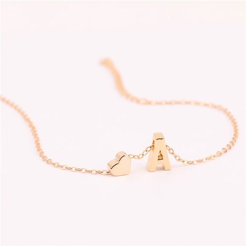 A to S Initial Letter Heart Anklet