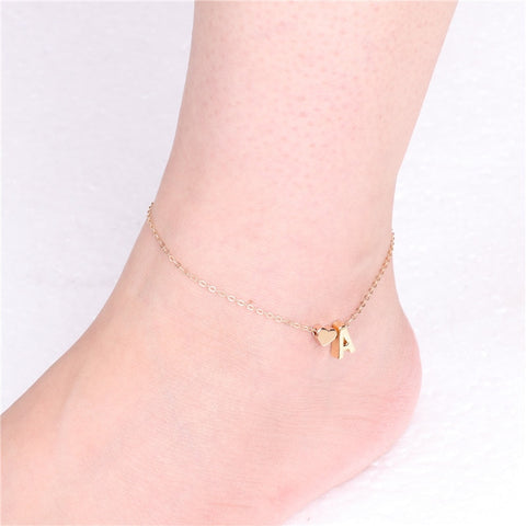 Image of A to S Initial Letter Heart Anklet