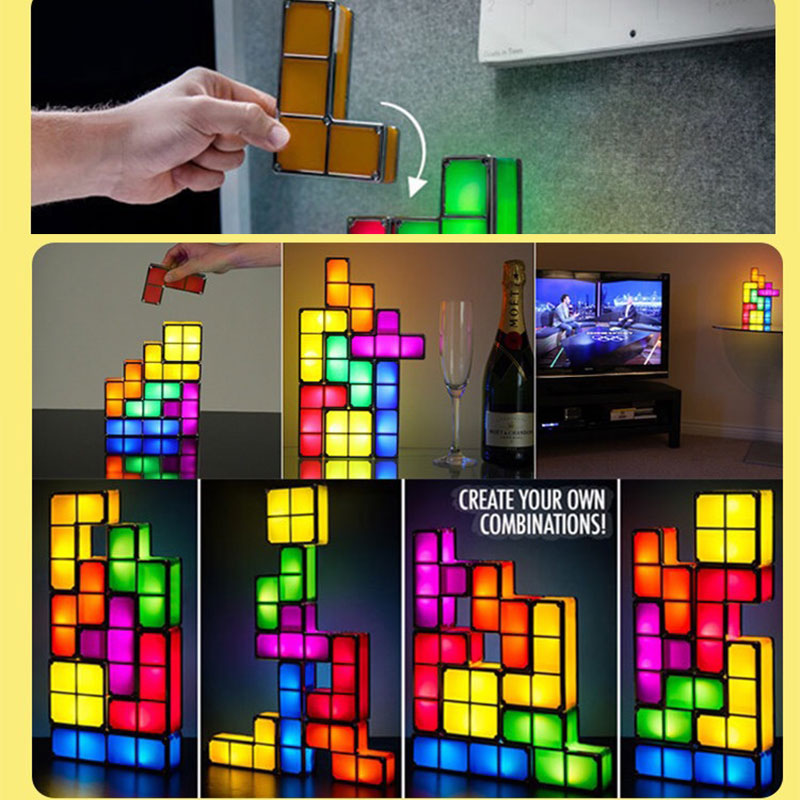 DYI Colorful Tetris Puzzle LED Night Light