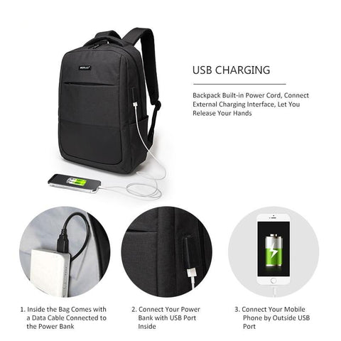Image of Anti Theft Waterproof Laptop Backpack - USB Charging