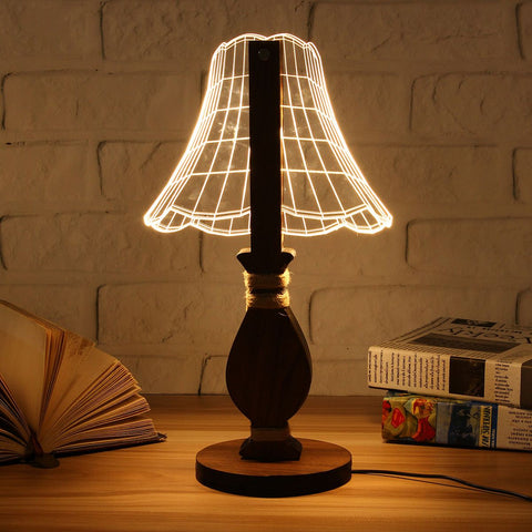 3D Wooden LED Night Light
