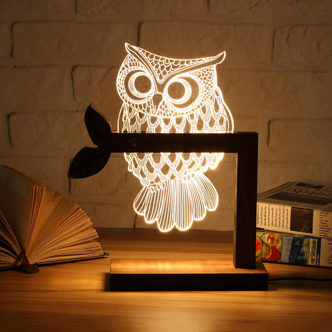 3D Wooden Owl LED Night Light