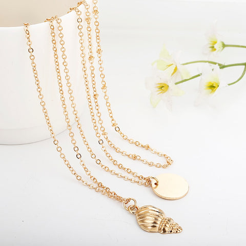 Image of Lucky Sea Shell Multi layer Necklace