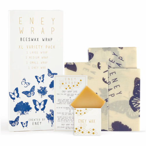 ENEY Premium Organic Beeswax Wraps | Butterfly Print | 3 Pack