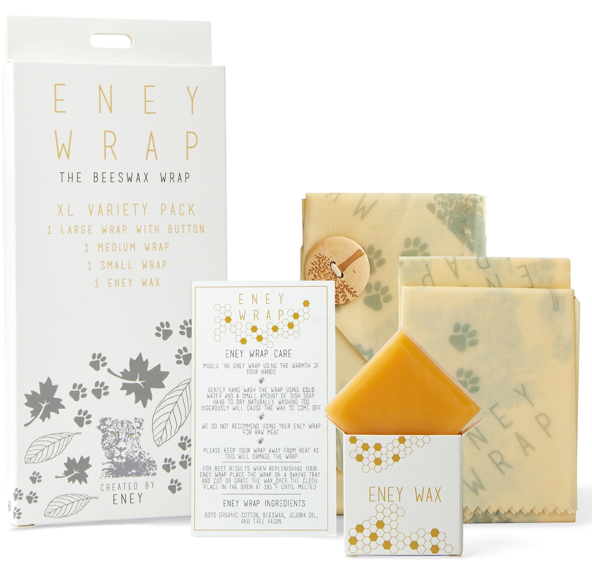 ENEY Premium Organic Beeswax Wraps | Jungle Print