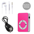 Mini MP3 Speler met in Ear Koptelefoon en USB Kabel - Roze - Mp3- of mp4-speler