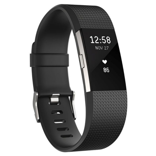Silicone Band voor Fibit Charge 2 / Large Bandje Fitbit Charge 2 - Zwart - Wearablebandje