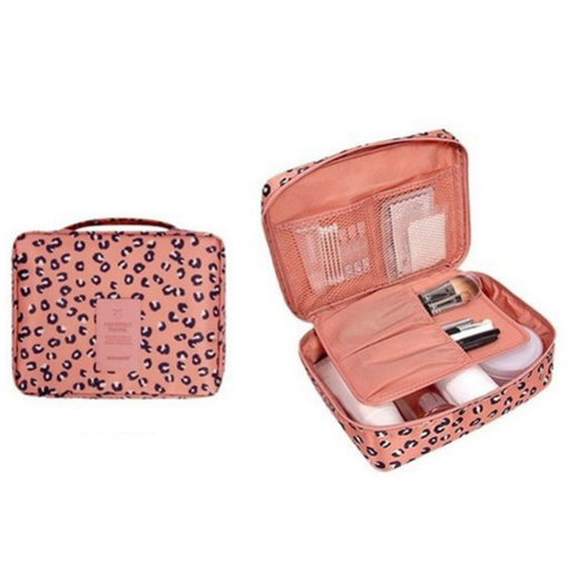 Make up Organizer Roze, Zwart met Leopard Print - Cosmetic tas - Reis Toilet Bag