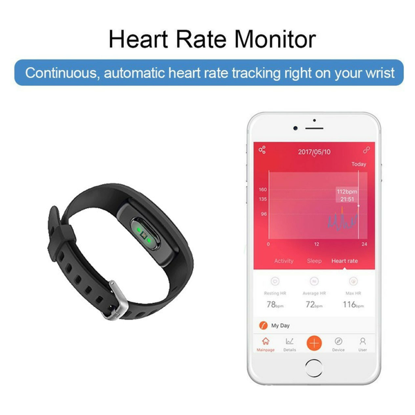 STR107+ Activity tracker - met Hartslagmeter - Stappenteller - Android/IOS - Polsomtrek 14 cm tot 20 cm - Zwart - Activitytracker