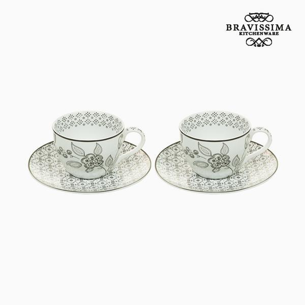 2 Piece Coffee Cup Set Porselein Wit Zwart (2 pcs) by Bravissima Kitchen