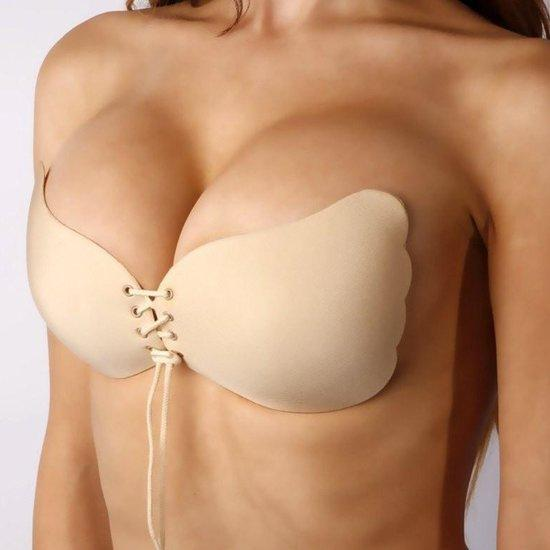 Strapless Plak BH - met Push up Door de Vetersluiting - Cup B - Beige / Huidskleur - Beha