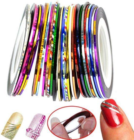 30 Rolletjes Striping Tape - Rolls Multicolor Gemengde Kleuren - Rolls Striping Tape Line Nail Art Decoratie Sticker - Nagelstickers