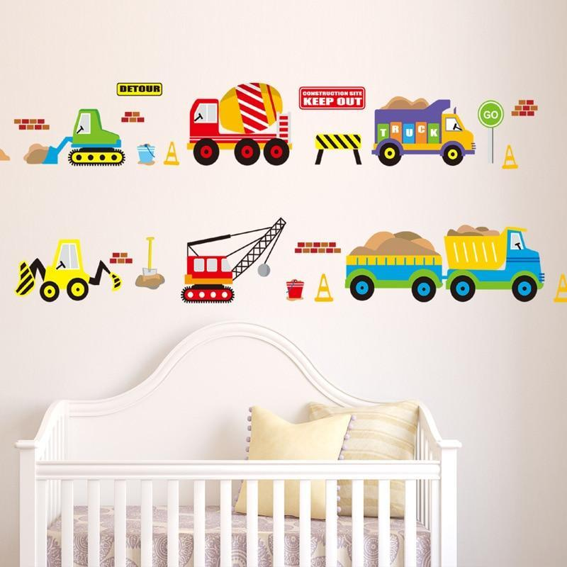 Cars Muurstickers Kinderkamer.Cartoon Zware Voertuig Stickers Kinderkamer Cars Muurstickers Decal
