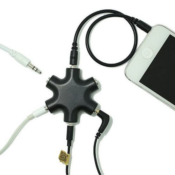 5 Poorts Audio Splitter Jack 3.5 mm - Zwart - Telefoniekabel