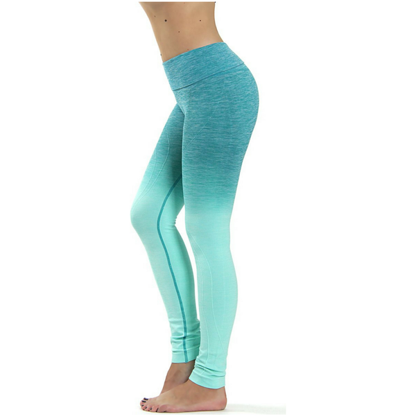 Yoga Leggings - Compressie met Hoge Taille - OMBRE AQUA - Sportleggings