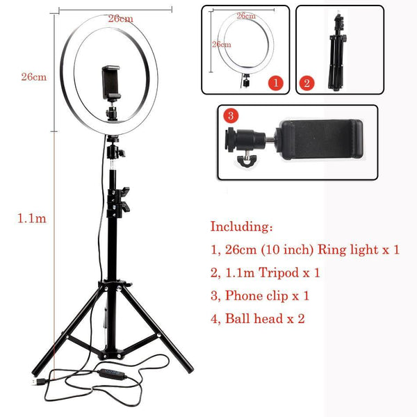 LED-Cameratelefoon met Statief CLIP - Licht Ring