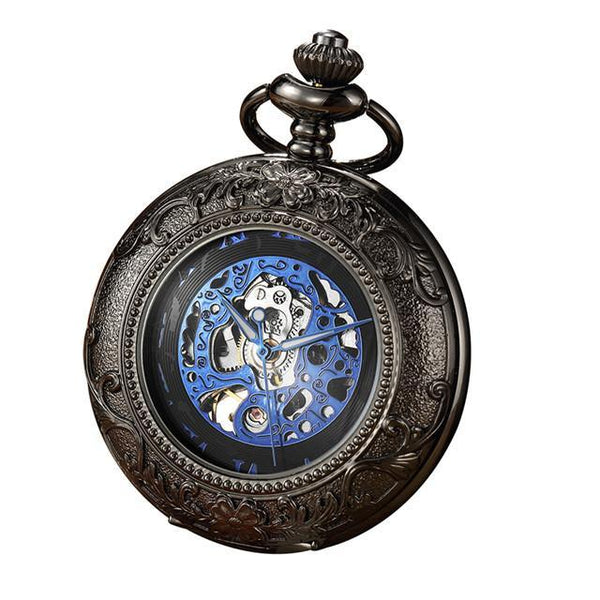 Luxury Retro Golden Hollow Skeleton Mechanical Pocket Watch Mens Fob Chain Steel Exquisite Sculpture Women Men Pocket Wath Gifs - Zwart -