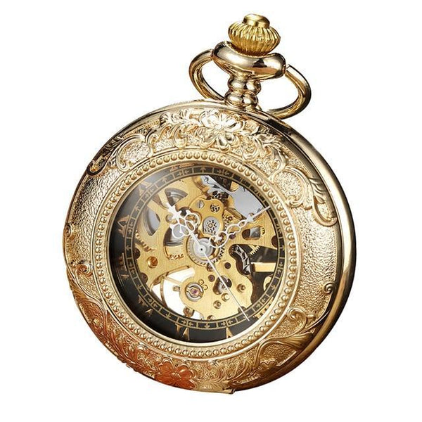 Luxury Retro Golden Hollow Skeleton Mechanical Pocket Watch Mens Fob Chain Steel Exquisite Sculpture Women Men Pocket Wath Gifs - Zakhorloge
