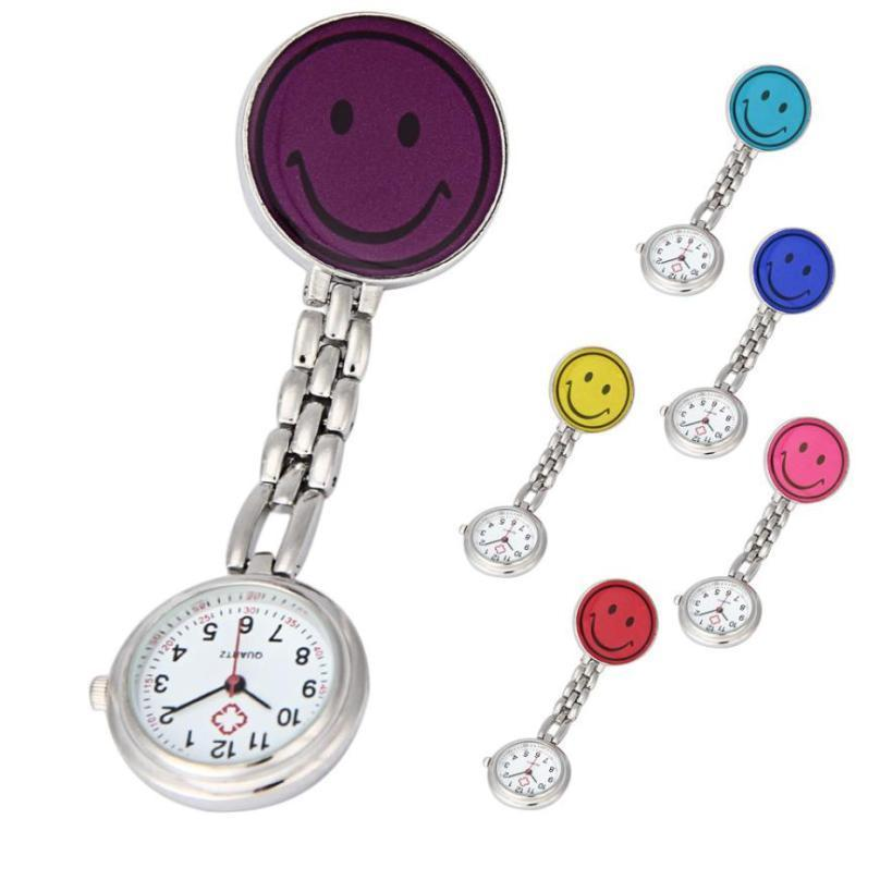 RVS Quartz Verpleegstershorloge Clip-on Broche - Smiley - Zakhorloge