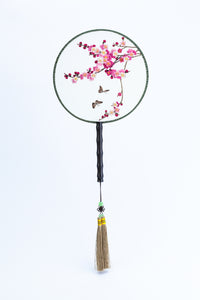 Chinese Traditional Embroidered Hand Fan-'Pink Blossom' - jindesignsuk