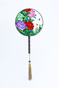 Chinese Traditional Embroidered Hand Fan - 'Flower 花' - jindesignsuk