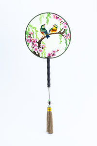 Chinese Traditional Embroidered Hand Fan - 'Soulmate 伴侣' - jindesignsuk